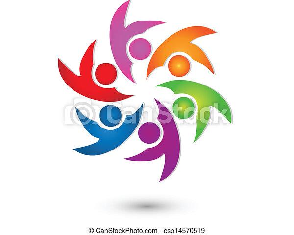 ロゴ, ベクトル, グループ, 幸せ, チームワーク - csp14570519