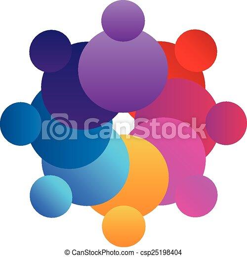 ロゴ, ベクトル, チームワーク, カラフルである - csp25198404
