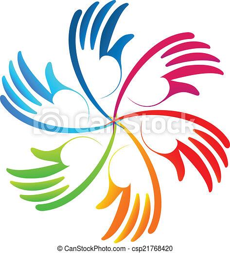 ロゴ, ベクトル, チームワーク, カラフルである, 手 - csp21768420