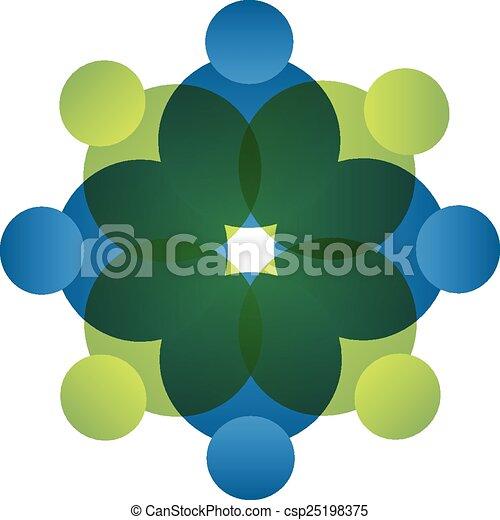 ロゴ, ベクトル, チームワーク, 人々, アイコン - csp25198375