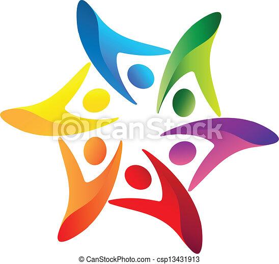 ロゴ, ベクトル, チームワーク, 合併した - csp13431913