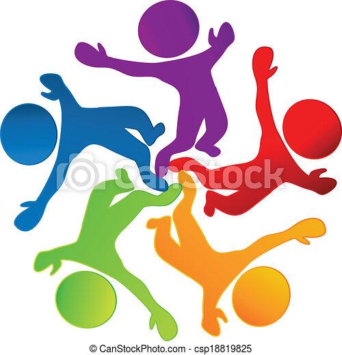 ロゴ, ベクトル, チームワーク, 幸せ - csp18819825