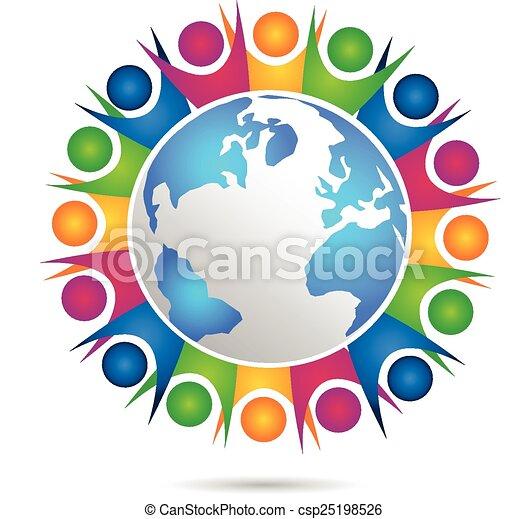ロゴ, ベクトル, チームワーク, 幸せ, 人々 - csp25198526