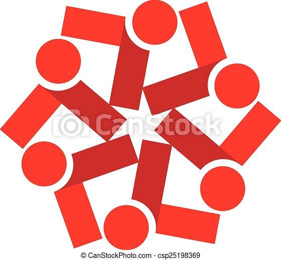 ロゴ, ベクトル, チームワーク, 赤, 人々 - csp25198369