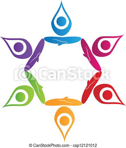 ロゴ, ベクトル, ヨガ, 人々, チームワーク - csp12121012