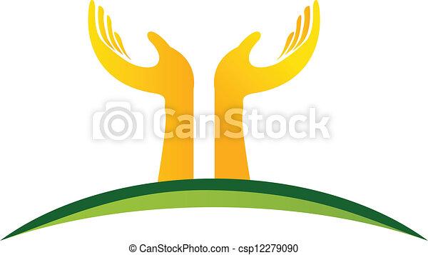ロゴ, ベクトル, 手 - csp12279090
