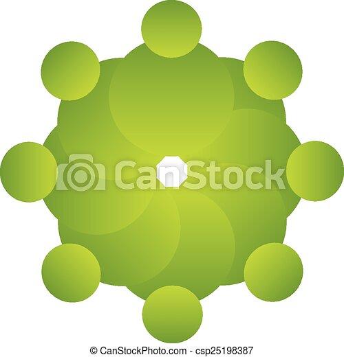 ロゴ, ベクトル, 緑, 人々, チームワーク - csp25198387