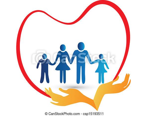 ロゴ, 保護される, 愛, 家族, 手 - csp15193511