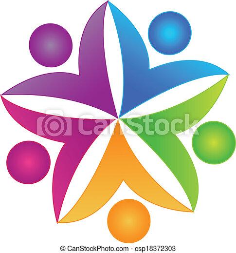 ロゴ, 共同, チームワーク, 人々 - csp18372303