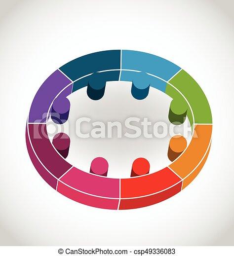 ロゴ, 円, チームワーク, 人々 - csp49336083