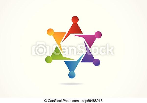 ロゴ, 友情, 抱擁, チームワーク - csp69488216