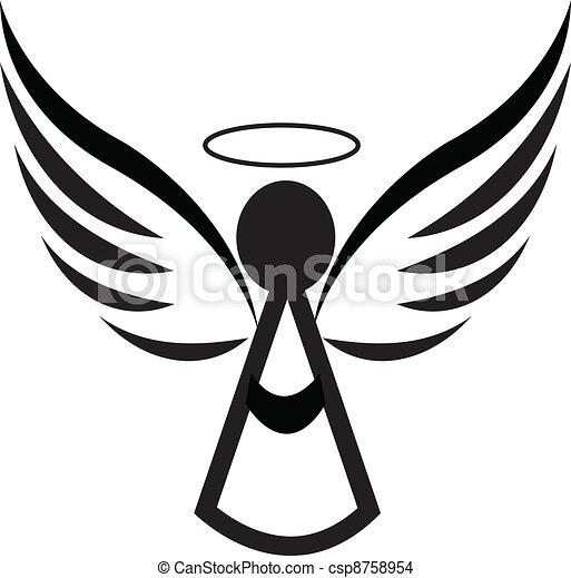 ロゴ, 天使, アイコン - csp8758954