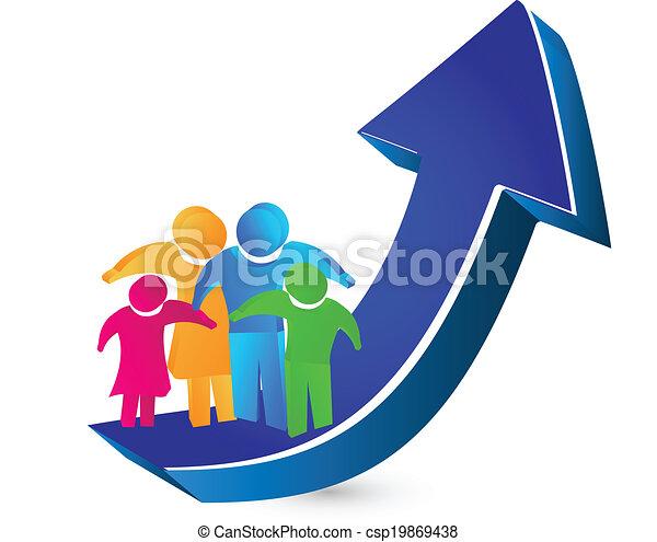 ロゴ, 家族, 矢, 成功 - csp19869438