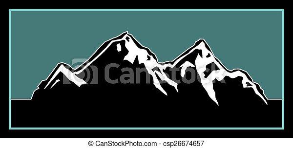 ロゴ, 屋外で, 山 - csp26674657