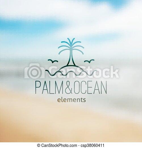 ロゴ, 島, やし, 波 - csp38060411
