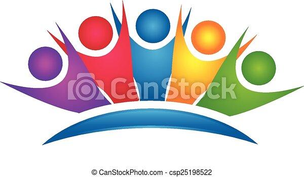 ロゴ, 幸せ, グループ, カラフルである, チームワーク - csp25198522