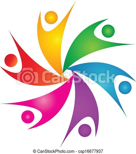 ロゴ, 幸せ, チームワーク, 人々 - csp16677937