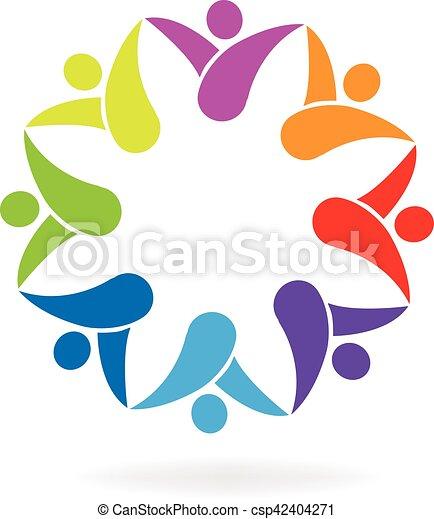 ロゴ, 形, 花, チームワーク - csp42404271