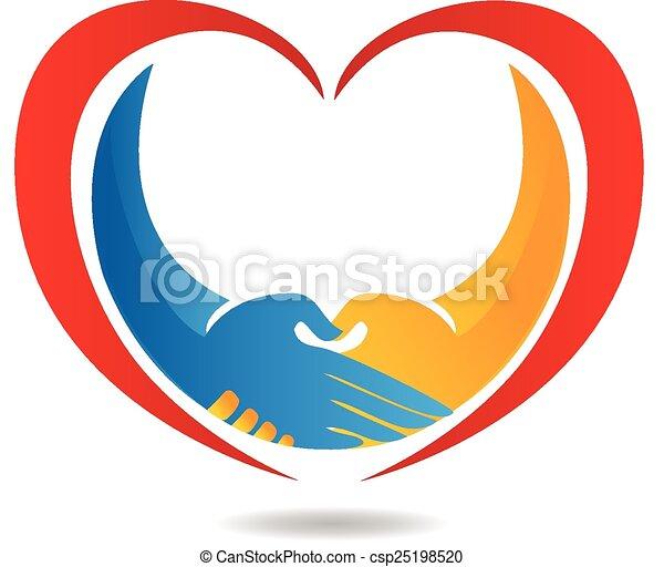 ロゴ, 心, ビジネス, 握手 - csp25198520