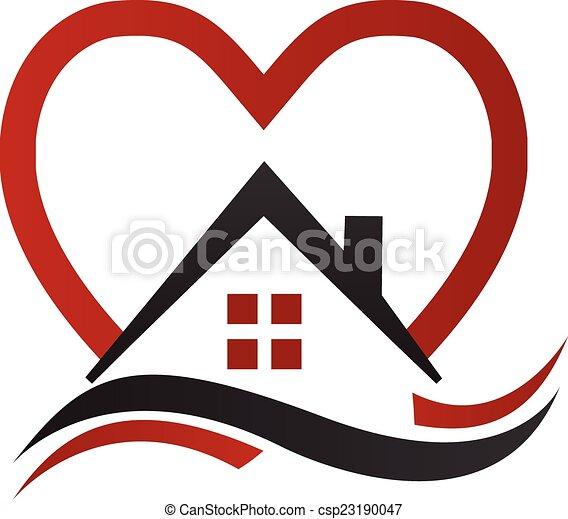 ロゴ, 心, ベクトル, 波, 家 - csp23190047