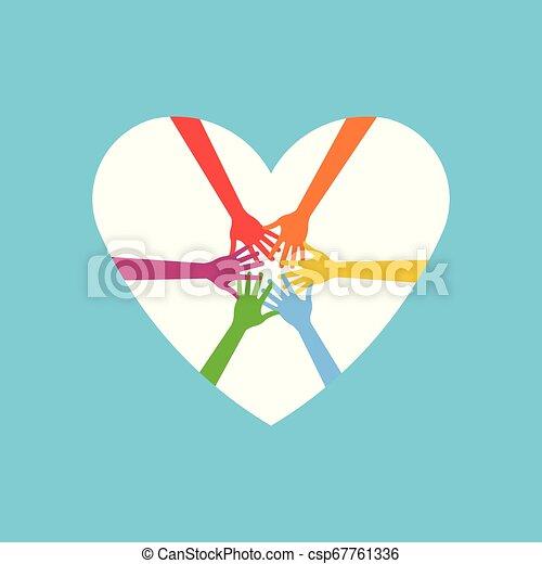 ロゴ, 心, 一緒に。, イラスト, 手 - csp67761336