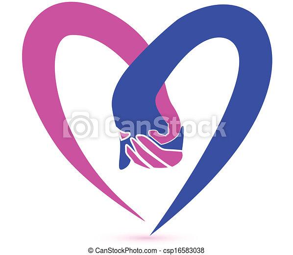 ロゴ, 恋人, ベクトル, 手を持つ - csp16583038