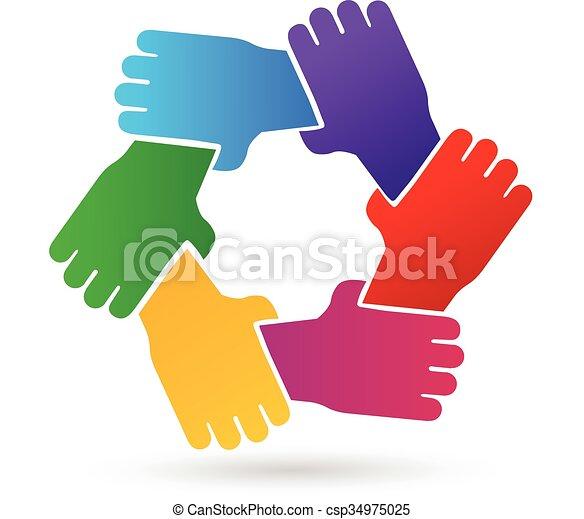 ロゴ, 手, チームワーク, 人々 - csp34975025