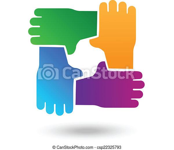 ロゴ, 手, ベクトル, チームワーク, 人々 - csp22325793