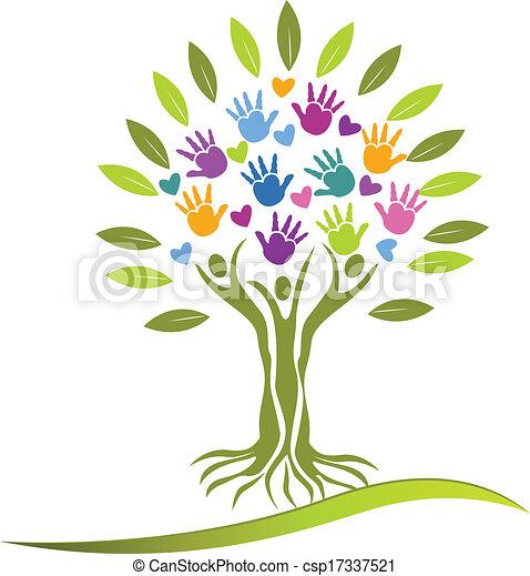 ロゴ, 手, 木, 心, 人々 - csp17337521