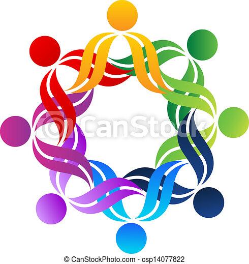 ロゴ, 抱擁, チームワーク, 人々 - csp14077822