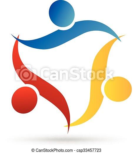ロゴ, 抱擁, チームワーク, 人々 - csp33457723