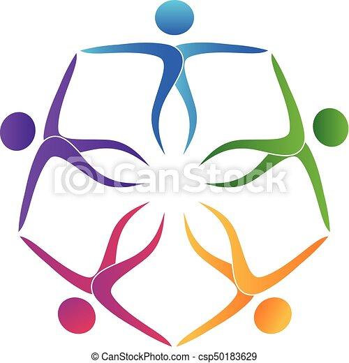 ロゴ, 抱擁, チームワーク, 人々 - csp50183629