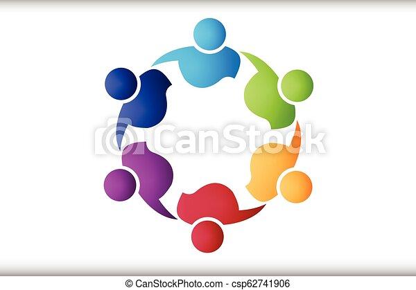 ロゴ, 抱擁, チームワーク, 人々 - csp62741906