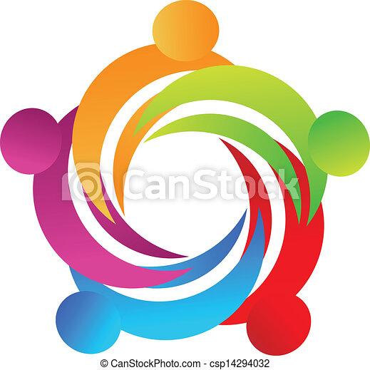 ロゴ, 抱擁, チームワーク, 人々 - csp14294032
