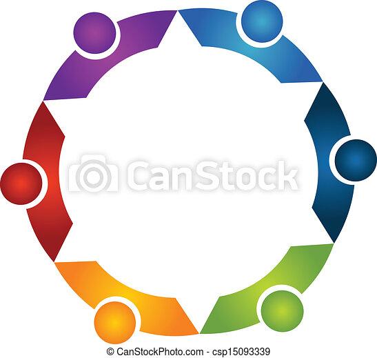 ロゴ, 抱擁, チームワーク, 人々 - csp15093339