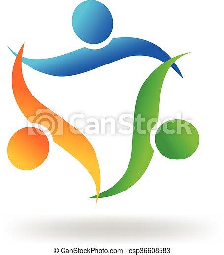 ロゴ, 抱擁, チームワーク, 人々 - csp36608583