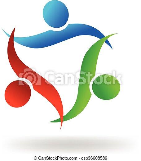 ロゴ, 抱擁, チームワーク, 人々 - csp36608589