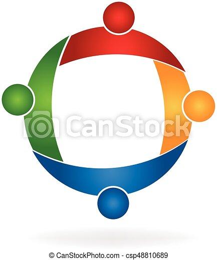 ロゴ, 抱擁, チームワーク, 人々 - csp48810689