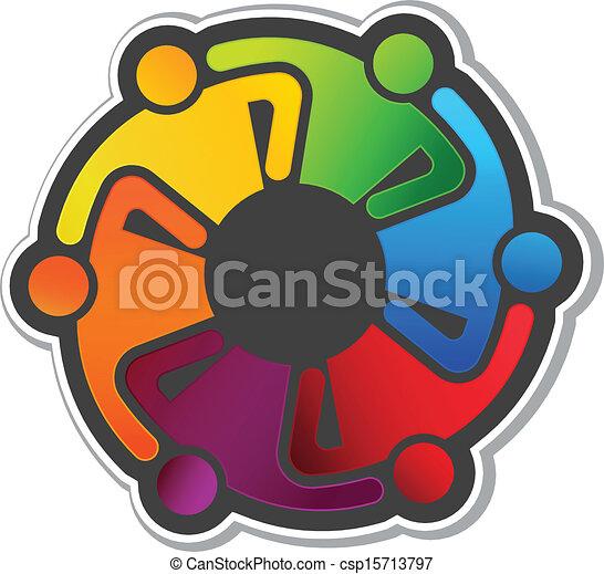 ロゴ, 抱擁, ベクトル, チームワーク, 6 - csp15713797
