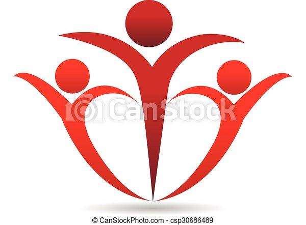 ロゴ, 抱擁, 人々 - csp30686489