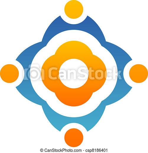 ロゴ, 抽象的, 花, チームワーク - csp8186401