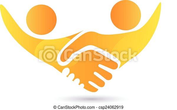ロゴ, 握手, ベクトル, 人々 - csp24062919