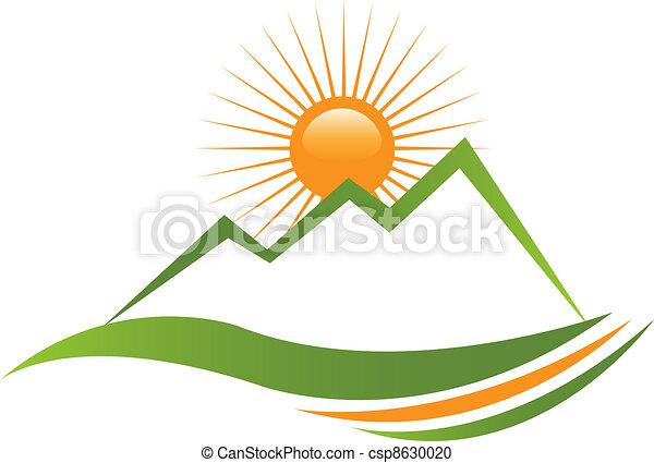 ロゴ, 日当たりが良い, 山 - csp8630020