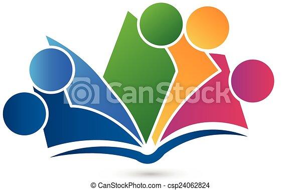 ロゴ, 本, チームワーク - csp24062824