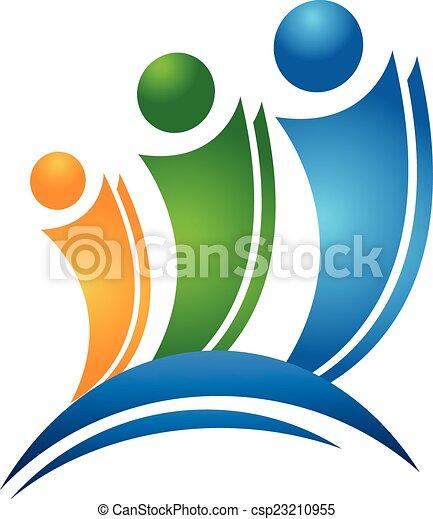 ロゴ, 概念, 友人, 幸せ - csp23210955
