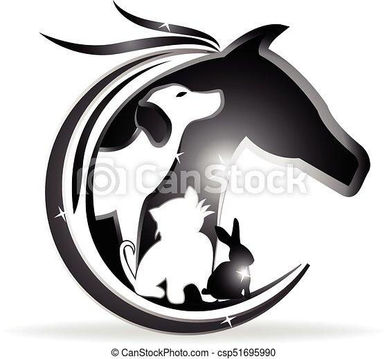 ロゴ, 犬, 馬, うさぎ, ねこ - csp51695990