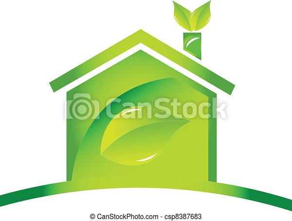 ロゴ, 生態学的, アイコン, グロッシー, 家 - csp8387683