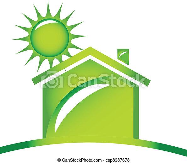 ロゴ, 生態学的, アイコン, 家 - csp8387678