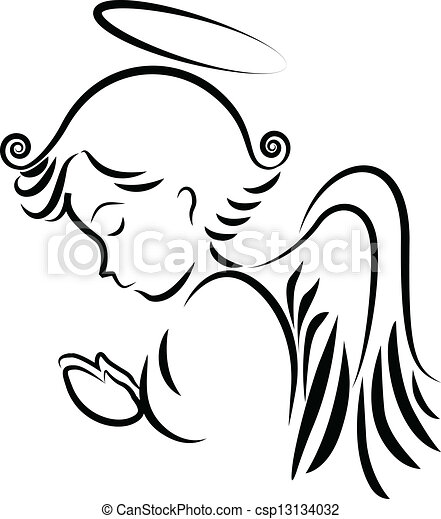 ロゴ, 祈ること, 天使 - csp13134032