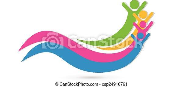 ロゴ, 統一, 概念, 友人, 幸せ - csp24910761